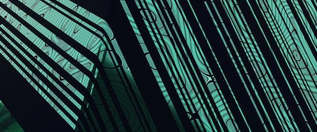 3d-renderingmusterlinie grün reflektiert luxushintergrund.