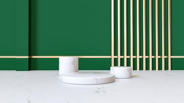 3d-renderings der geometrischen zusammenfassung mit marmorsockel für produktanzeige