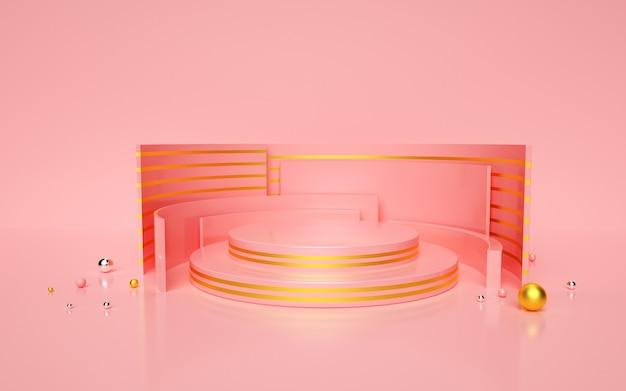 3d-renderings der rosa geometrischen mit golden gestreiftem kreisförmigem podium Premium Fotos