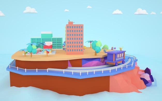 3d-renderings eines stadtwohngebäudes im hochland