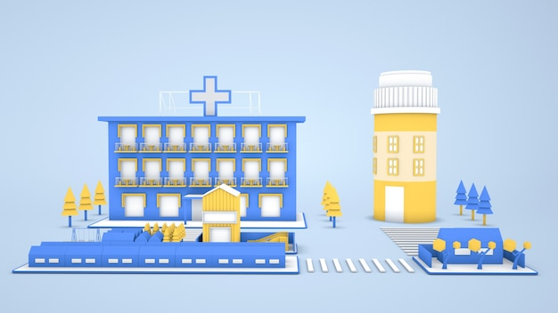 3d-renderings von isometrischen krankenhausgebäudeillustrationen