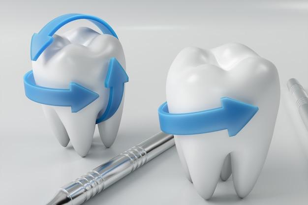 3d-renderingzahn mit zahnarztpickel. zahn-, medizin- und gesundheitskonzept. mundhygiene, mundpflege