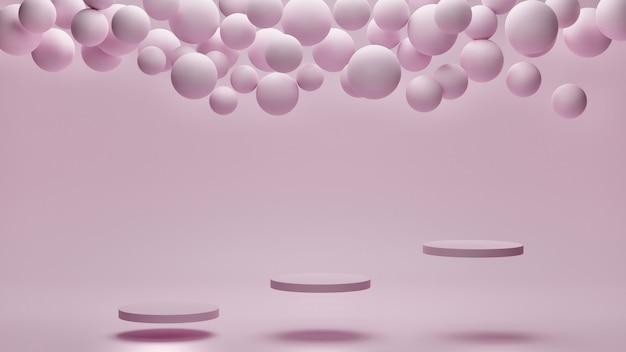 3d rendern. abstrakte tapete. fliegende geometrische objekte und präsentationspodest auf rosa pastellhintergrund.