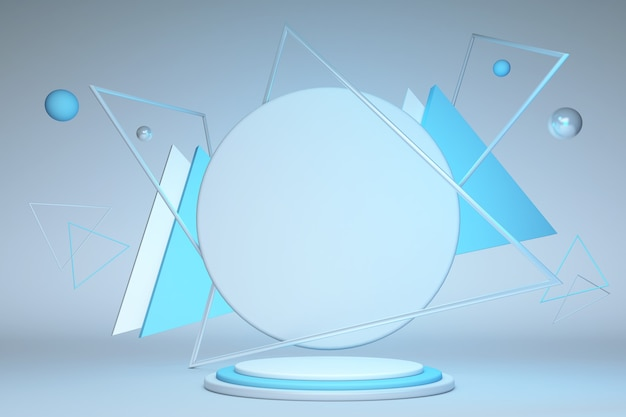 3d rendern abstrakten geometrischen dreieckrahmen blau runden sockel isoliert auf pastellhintergrund modernes minimalkonzept leere plattform leere bühne leer podium premium-design