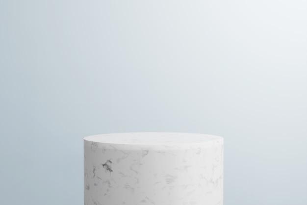 3d rendern abstrakten hintergrund, mockup-szene. podium aus weißem marmor und blauer hintergrund für das produkt.