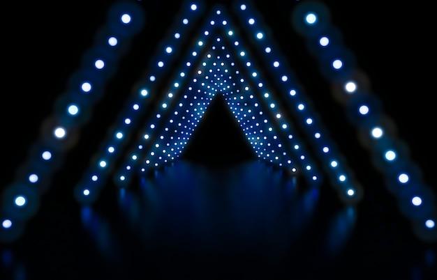 3d rendern abstrakter modehintergrund mit blauen neonlichtern