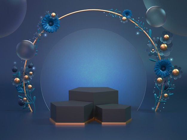 3d rendern den klassischen blauen podiumhintergrund für kosmetisches produkt oder ein anderes objekt. objektanzeige hintergrund mit blume verzieren.