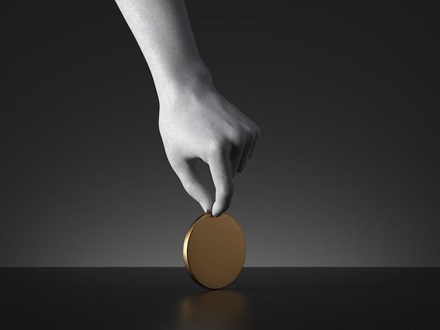 3d rendern der mannequinhand, die leere runde goldene marke oder münze oder medaille hält.