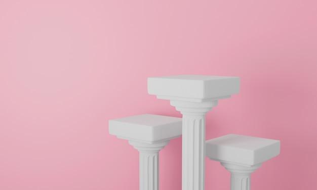 3d rendern der säulensäule auf pastellhintergrund. säulentisch.