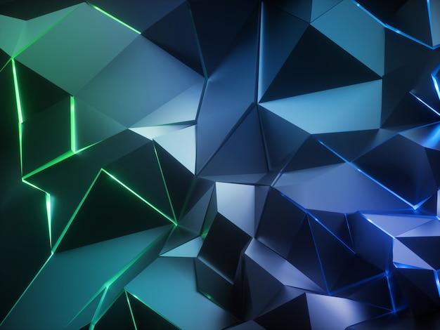 3d rendern des abstrakten schwarzen geometrischen hintergrunds mit polygonalem netz und grünem neonlicht