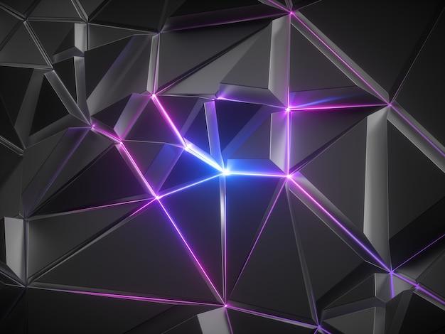 3d rendern des abstrakten schwarzen metallischen facettierten kristallhintergrundes mit rosa blau leuchtendem neonlicht