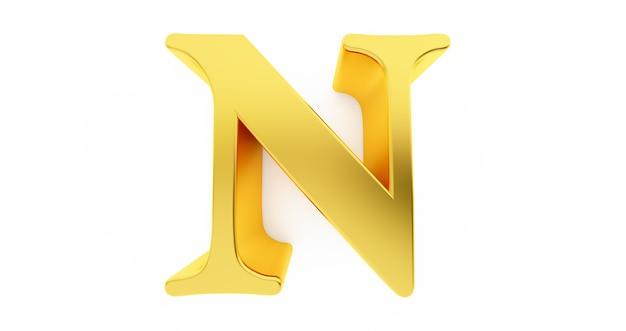 3d rendern des buchstabens n in goldmetall lokalisiert auf einem weißen hintergrund.