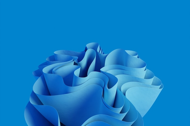 3d rendern eine hellblaue abstrakte wellenförmige form auf einem tiefblauen hintergrund
