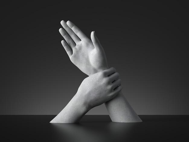 3d rendern, gebärdensprache, mannequin hände isoliert. einschränkung oder kraft oder verhaftung metapher.