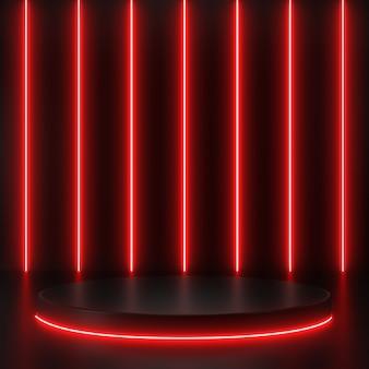 3d rendern geometrische, leuchtende linien, tunnel, rote neonlichter, abstrakter hintergrund, mit schwarzem podium.