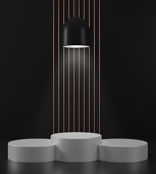 3d rendern geometrischen abstrakten hintergrund szenen mit weißen podiumszenen im schwarzen hintergrund
