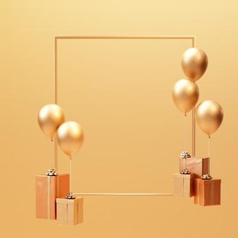3d rendern goldene geschenkbox mit minimalem rahmenhintergrund des ballons