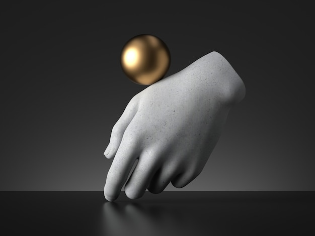 3d rendern, goldener ball, der auf mannequinhand balanciert.