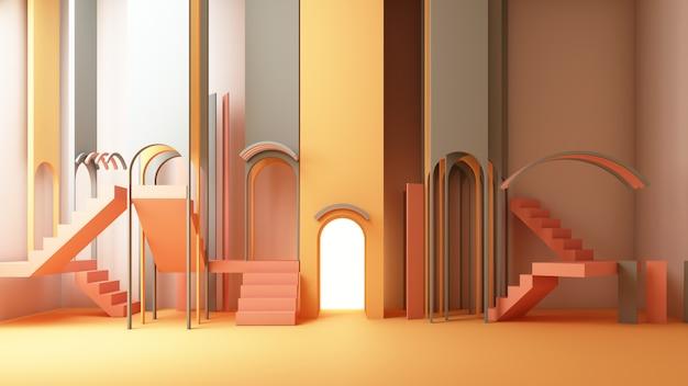 3d rendern illustration im modernen geometrischen stil bogen und treppe