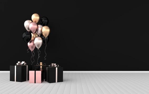 3d rendern illustration von realistischen glänzenden bunten luftballons und geschenkbox mit bandschleife auf schwarzem hintergrund