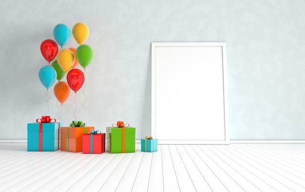 3d rendern innenraum mit realistischen bunten luftballons, geschenkbox mit bandmodellplakat im raum.