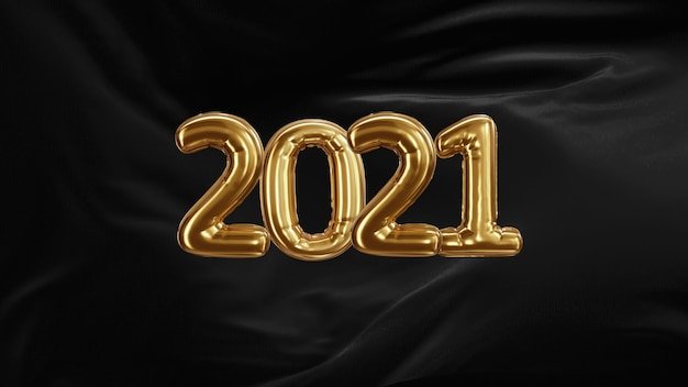 3d rendern inschrift 2021 von den goldenen luftballons des schwarzen seidenentwicklungsgewebes