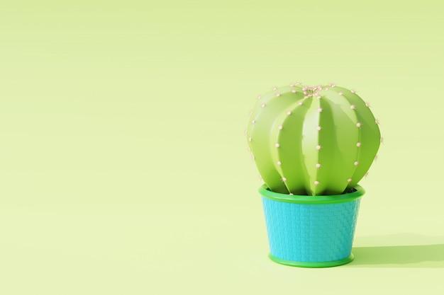 3d rendern kaktus im blumentopf.