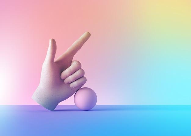 3d rendern mannequin hand und ball, finger zeigt nach oben, richtungsgeste, isoliert auf buntem pastellhintergrund.
