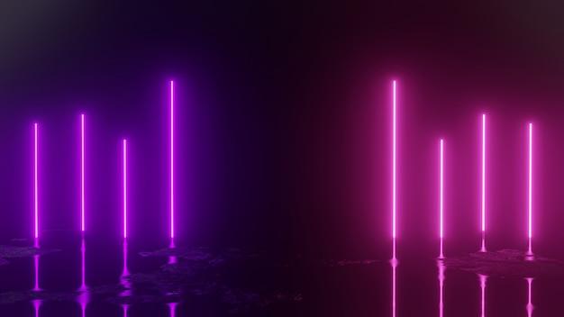 3d rendern mit neonlichtern auf schwarzem abstraktem hintergrund