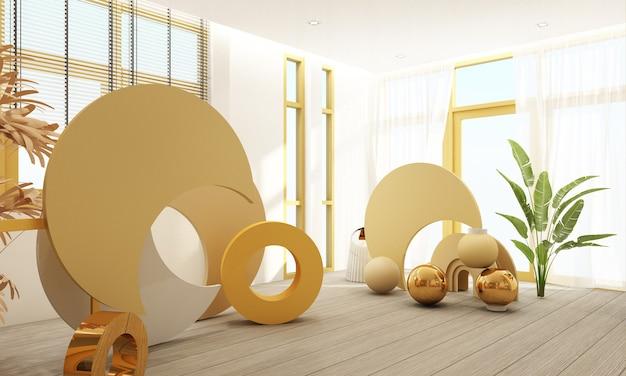 3d rendern pastellhintergrund mit geometrischen formen im inneren wohnzimmer