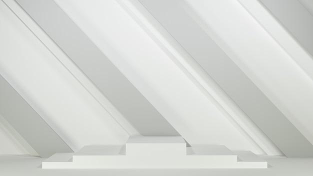 3d rendern. podium auf grauem hintergrund. produktpräsentation