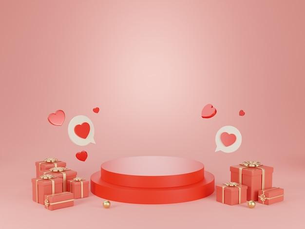 3d rendern podium für valentinstag.