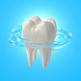 3d rendern realistische zähne. weiße zähne mit mundspülung reinigen