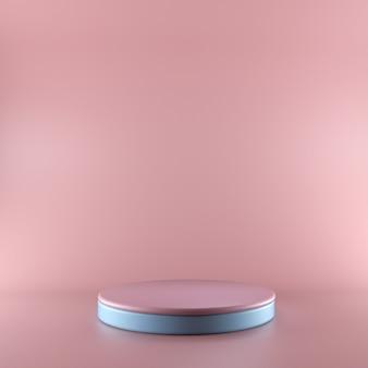 3d rendern rosa und blaues podium. ladenpräsentation produktausstellung, leerer raum, leerer sockel, quadratische bühne. leeres modell mit speicherplatz