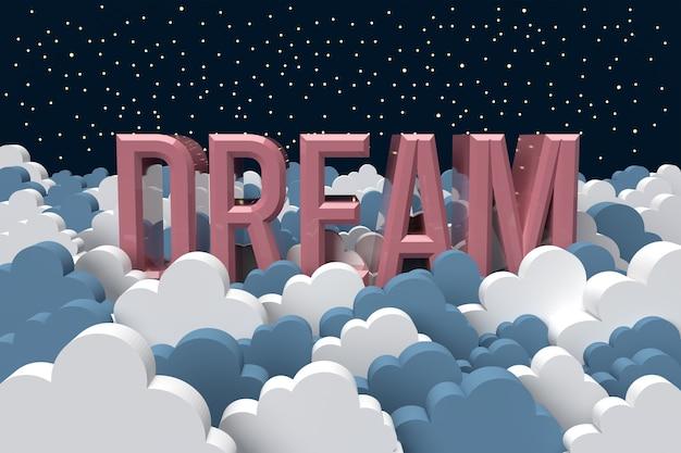 3d rendern traumtext mit blauen und weißen wolken