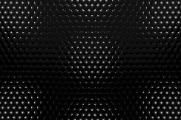 3d rendern volumetrischen hintergrund von schwarzen sechsecken. abstrakter schwarzer hintergrund.