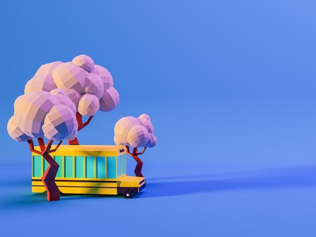 3d rendern von bäumen und schulbus auf blauem hintergrund in neonfarben. zurück zum schulkonzept