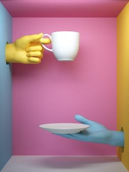 3d rendern von blauen und gelben händen, die weiße tasse und platte halten.
