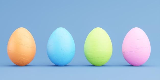 3d rendern von bunten eiern für glückliches osterfest