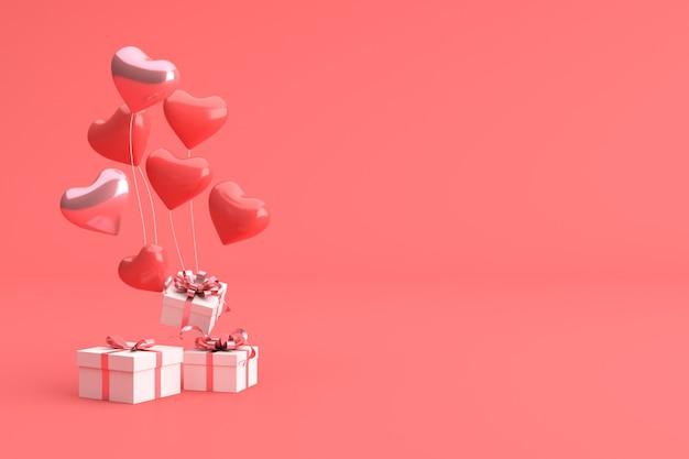 3d rendern von geschenkbox mit luftballons in herzform. Premium Fotos
