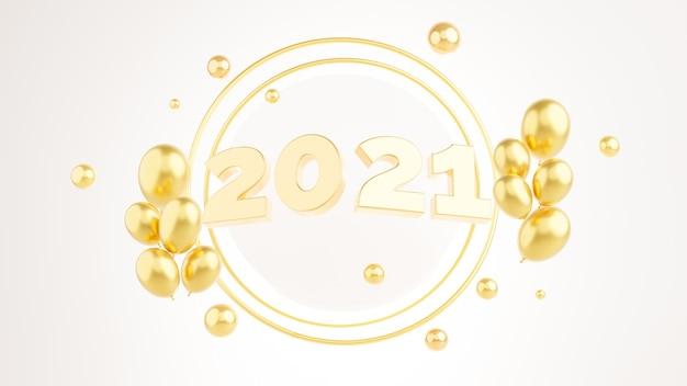 3d rendern von gold 2021 frohes neues jahr mit luftballons.