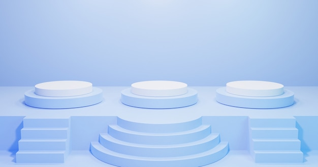 3d rendern von himmelblau drei podiumsockelstufen und bühne, drei treppendekoration.