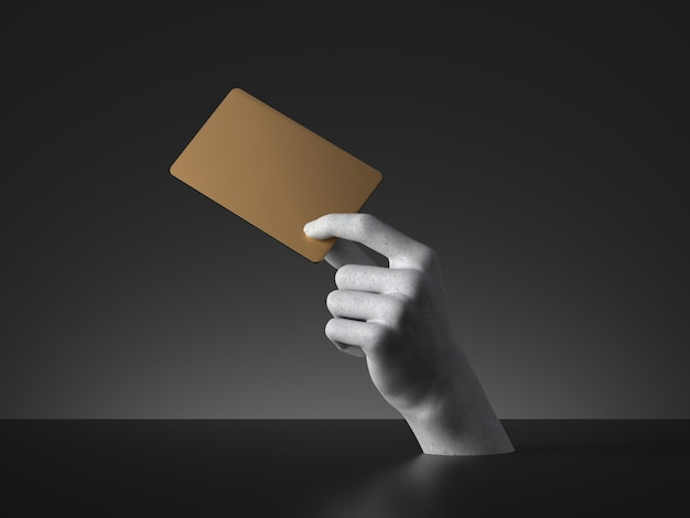 3d rendern von mannequinhand, die leere goldene karte oder ticket lokalisiert auf schwarzem hintergrund hält. zahlungsmetapher.