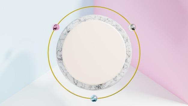3d rendern von minimalem stilpolygon mit weißem marmor und goldener form. abstraktes isoliertes hintergrundkonzept.