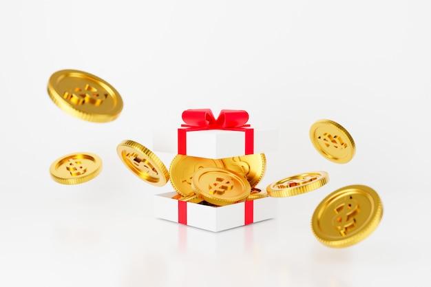3d rendern von offenen geschenkbox-gelddollarmünzen mit roter schleife