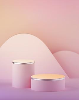 3d rendern von pastellrosa rosa zylinder podium