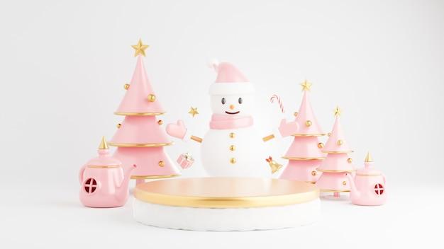3d rendern von podium am weihnachtskonzept mit dekoration
