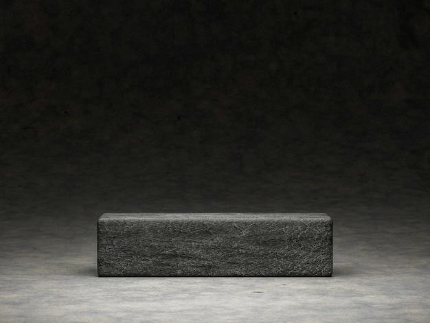 3d rendern von podium oder sockel auf betonhintergrund mit stein. abstraktes konzept.