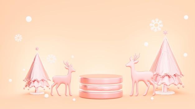 3d rendern von rosa podiumweihnachtskonzept mit dekoration