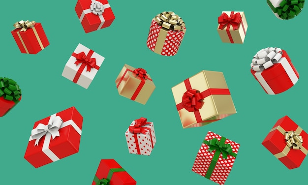 3d rendern von roten, weißen, goldenen geschenkboxen und punktmuster mit bändern, die auf grünem hintergrund schweben. weihnachts- und neujahrskonzept.